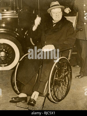 Winston Churchill (1874-1965) leaves hospital after being struck by a car late one evening while crossing New York's Fifth Avenue in December, 1931, barely escaping with his life. - Stock Photo