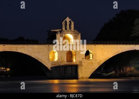 Night View of the Medieval Pont d'Avignon, Pont Saint Benezet or Pont Saint-Bénézet over the River Rhône Avignon Vaucluse Provence France - Stock Photo