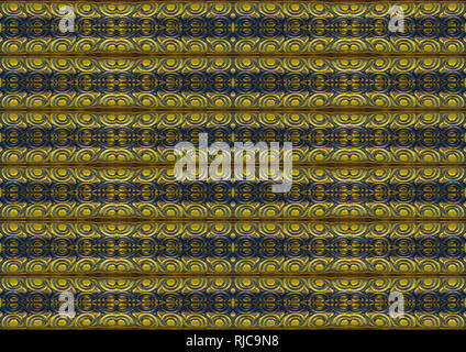 Digital collage technique striped ornate seamless pattern design in blue and yellow colors - Stock Photo