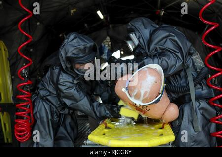 Soldiers assigned to the 414th Chemical Company from Orangeburg, South Carolina wash a simulated casualty during a Joint Training Exercise hosted by the Homestead-Miami Speedway and Miami-Dade Fire Department in Miami, Florida. Jan. 11, 2018. This JTE focused on building response capabilities and the seamless transition between the local first responders and the follow-on support provided by the National Guard and Active duty soldiers. (U. S. Army - Stock Photo