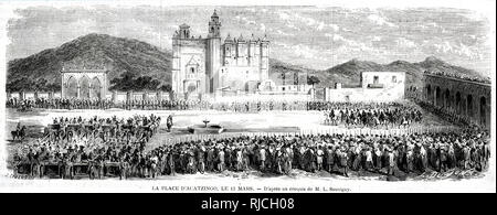 In the main square of Acatzingo, crowds watch as soldiers on horseback and in carriages enact a military parade. - Stock Photo