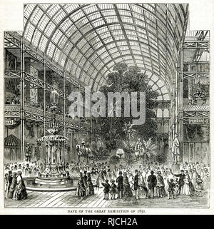 Interior of the temporary glass structure of The Great Industrial Exhibition in Hyde Park taking place between from 1 May to 15 October 1851, showing a view from the nave. - Stock Photo