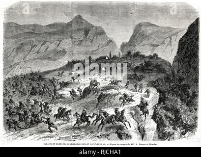 The Defeat and Flight of the guerillas before Saint-Nicholas. Guerilla soldiers are routed by the French on horseback on a rocky outcropping, a few buildings in the distance. - Stock Photo