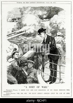 A Sort of War - A satirical cartoon from Punch Magazine. Woodrow Wilson stands on a ship during a naval battle, leaning down to speak to two U.S. sailors loading a naval gun with shells.     The accompanying caption reads 'President Wilson: 'I hope you are not shooting at my dear friends the Mexicans?' U.S.A. Gunner: 'Oh no sir. We have strict orders only to aim at one Huerta.'' - Stock Photo