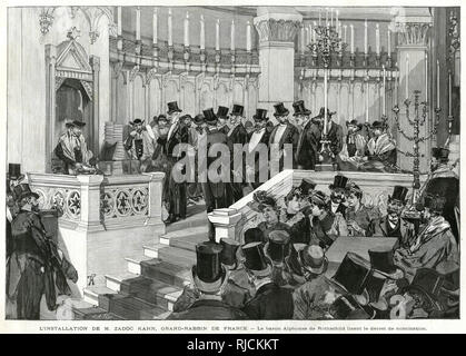 Zadoc Kahn being installed as the Chief Rabbi of France. Baron Alphonse James de Rothschild is depicted reading the decree of nomination. - Stock Photo
