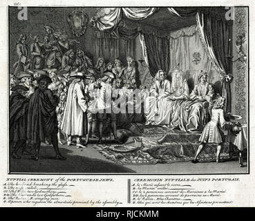 This engraving depicts a wedding of Portuguese Jews. Jewish weddings have various laws and traditions. Some common features of these weddings include a marriage contract known as a ketubah, a wedding canopy known as a chuppah and a ring owned by the groom given to the bride under the canopy, as well as the breaking of glass. - Stock Photo