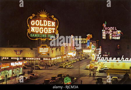 Night view of The Golden Nugget gambling hall, Fremont Street, Las Vegas, Nevada, USA. - Stock Photo