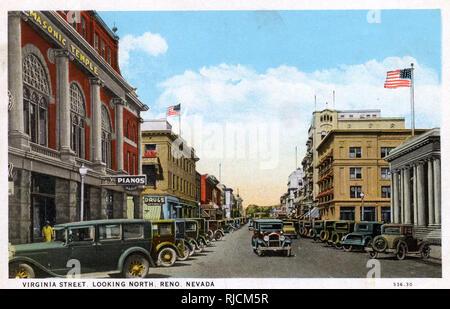 Virginia Street (looking north), Reno, Nevada, USA. - Stock Photo