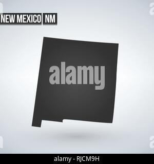 New Mexico vector map silhouette isolated on white background. High detailed illustration. United state of America country - Stock Photo