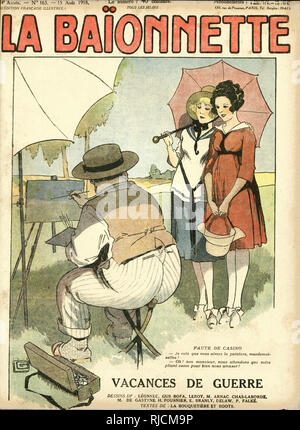 Front cover design for La Baionnette, Wartime Holidays. Artist: I see that you like art, ladies!  Women: Oh, no sir, we're waiting for your stool to break so that we can have a good laugh! - Stock Photo