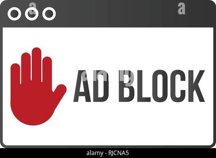 Ad block popup banner lock concept vector. - Stock Photo