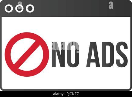 Ad block popup banner lock concept vector - Stock Photo