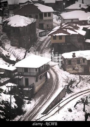 Village covered with snow in Central Macedonia Greece - Stock Photo