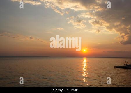 Sunset on Amazon River - Stock Photo