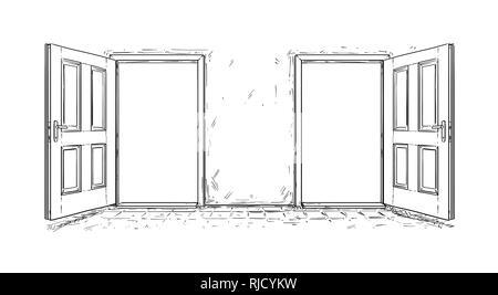 Cartoon of Two Open Wooden Decision Door - Stock Photo