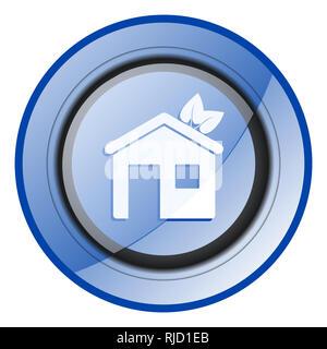 House round blue glossy web design icon isolated on white background - Stock Photo