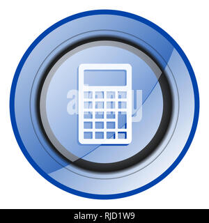 Calculator round blue glossy web design icon isolated on white background - Stock Photo