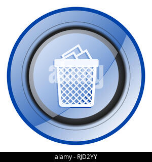 Trash can round blue glossy web design icon isolated on white background - Stock Photo
