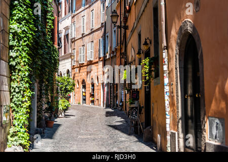 Rome, Italy - September 4, 2018: Italian outside traditional narrow empty alley with nobody on street in historic city with ivy summer plants - Stock Photo