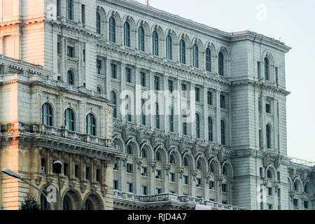 Romanian parliament palace building detail scene - Stock Photo