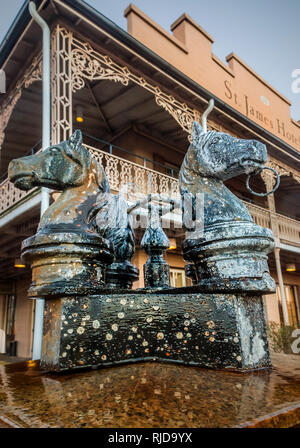 Four horses adorn a fountain in front of the St. James Hotel, Feb. 14, 2015, in Selma, Alabama. - Stock Photo