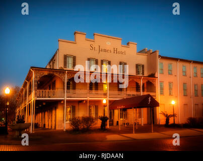 The St. James Hotel is pictured at dusk, Feb. 14, 2015, in Selma, Alabama. The hotel was built in 1837. - Stock Photo