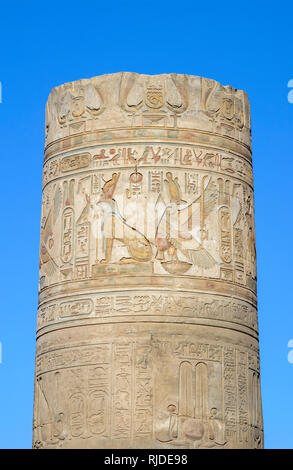 Pillar with original colourful carvings of Horus and Nekhebit, Temple of Kom Ombo, Temple of Sobek, a Ptolomeic dynasty double temple, Upper Egypt - Stock Photo