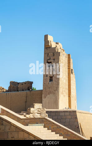 Gateway at the entrance to the Temple of Kom Ombo, Temple of Sobek, an unusual double temple from the Ptolomeic dynasty in Upper Egypt - Stock Photo