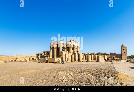 Panoramic view of the Temple of Kom Ombo and the Temple of Sobek, an unusual double temple from the Ptolomeic dynasty in Upper Egypt - Stock Photo