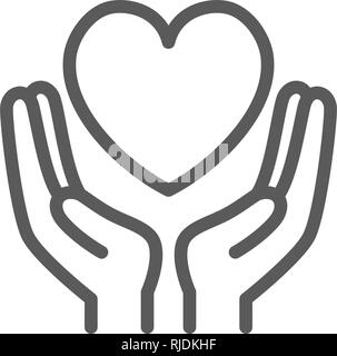 Hands hold heart, charity, donation, valentine day line icon. - Stock Photo