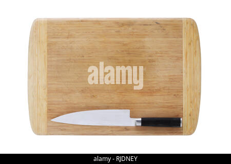 A wood chopping board and Japanese chefs knife isolated on white with clipping path - Stock Photo