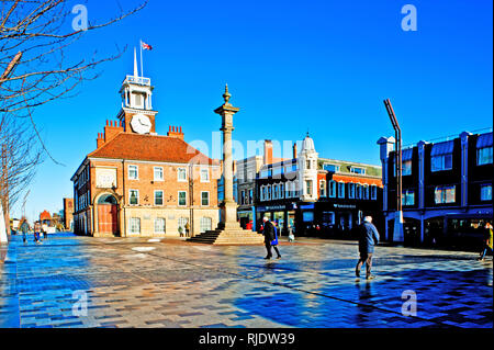 Town Hall and high street, Stockton on Tees, Cleveland, England - Stock Photo