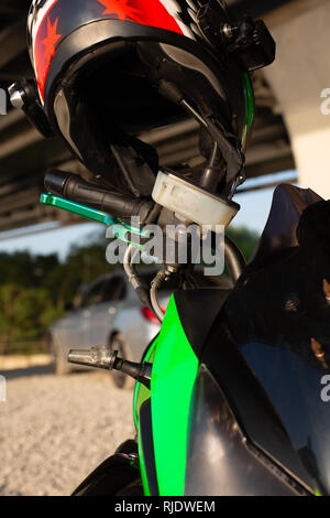 view of handlebar grips of the motorcycle closeup - Stock Photo