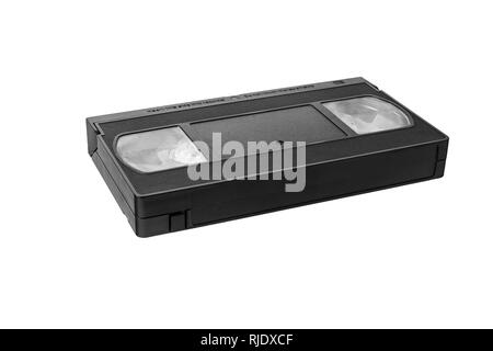 VHS video tape cassette isolated on white background. - Stock Photo