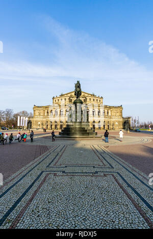 Scenic summer view of Semper Opera House and Monument to King John in Dresden, Saxony, Germany - Stock Photo