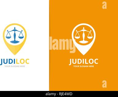 Libra and map pointer logo combination. Unique law and pin logotype design template. - Stock Photo