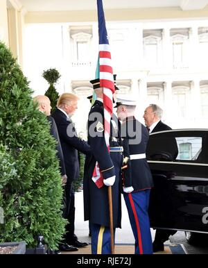 President Donald J. Trump hosts the Armed Forces Full Honor Cordon ceremony in honor of Nursultan Nazarbayev, the President of Kazakhstan, at the White House, in Washington D.C. Jan. 16, 2017. - Stock Photo