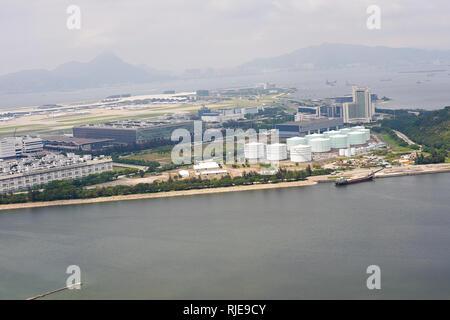 HONG KONG - MAY 11, 2012: view from Ngong Ping 360 cable car on Hong Kong International Airport . Hong Kong International Airport is the main airport  - Stock Photo