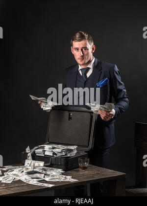 Businessman work in accountant office. Small business concept. Man in suit. Mafia. Making money. Economy and finance. Man bookkeeper. Money - Stock Photo