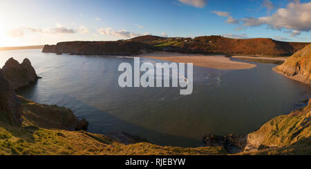 Three Cliffs Bay panoramic view, Gower, Swansea, Wales - Stock Photo