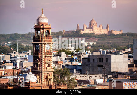 Clock tower known as Ghanta Ghar in Blue city market square in Jodhpur, Rajasthan, India - Stock Photo