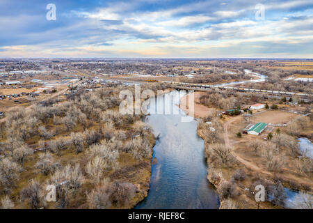 South Platte River at LaSalle, Colorado - winter aerial view - Stock Photo