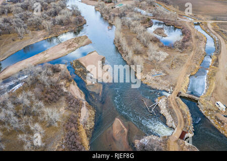 water diversion on SOuth Platte River in Colorado, aerial view - Stock Photo