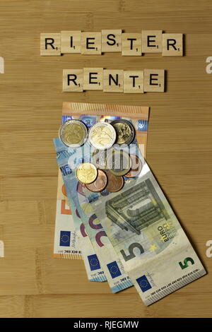 Sign Security of Pension german Rentensicherheit Grundrente Riester Rente - Stock Photo