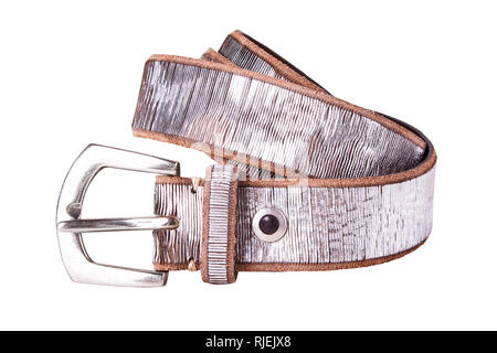 Silver fastened fashionable woman's silver leather belt with dark matted metal buckle isolated on white background - Stock Photo