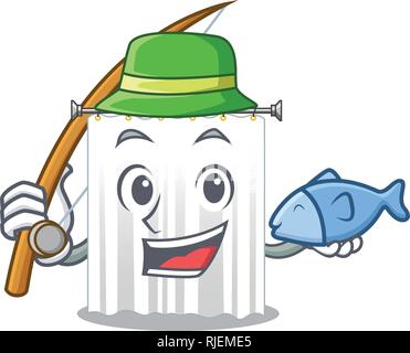 Fishing cartoon shower curtains are very pretty - Stock Photo