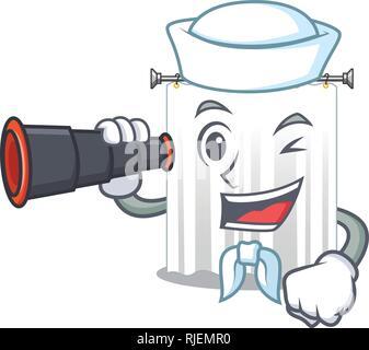 Sailor with binocular cartoon shower curtains are very pretty - Stock Photo