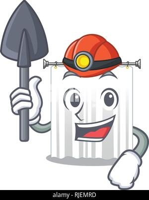 Miner cartoon shower curtains are very pretty - Stock Photo