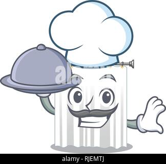 Chef with food cartoon shower curtains are very pretty - Stock Photo