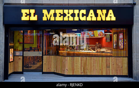 El Mexicana on Bold Street, Liverpool, 8th January 2017.   The popular El Mexicana chain is now situated in the heart of the city centre, Liverpool. Serving an extensive menu which includes burritos to quesidillas, beef to chicken, while their salsa ranges in heat from mild to spicy. The restaurant, which aims to be the most popular over-the-counter Mexican food provider in the UK, also serve churros, cocktails and mocktails - Stock Photo